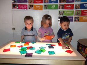 Home Sweet Home Child Care, Light Table, children learning, shapes, science, STEM, child care, childcare, daycare, Chicago, North Park